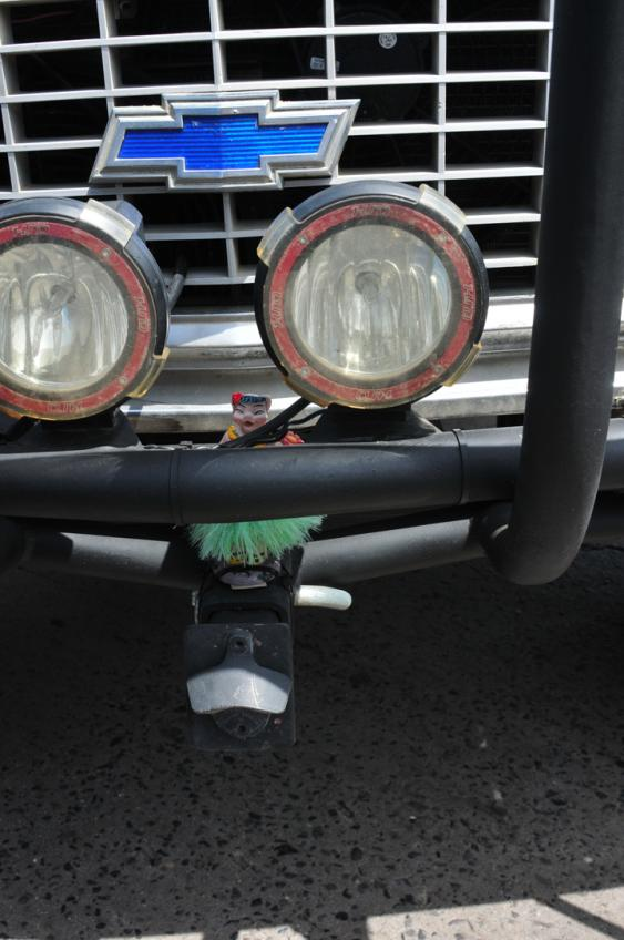A front hitch is a great point for extracting a vehicle with. It doubles as a good place to mount a bottle opener. You might also notice the hula pig sticking out from behind the bumper tubing. Only the lower half of the pig would make the entire ride to San Jose del Cabo, unfortunately. The top half has yet to be located.