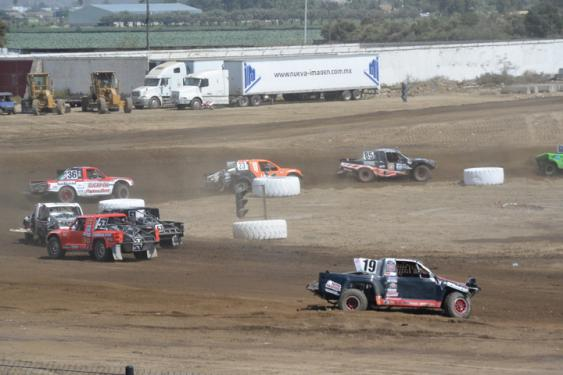 More than one truck was left tattered and pointing the wrong way on the track on Saturday.