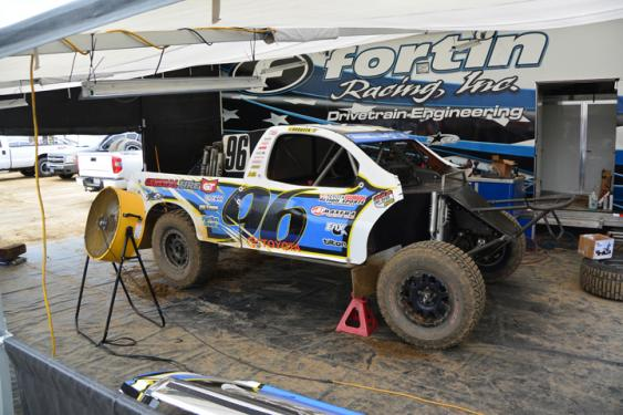 Doug Fortin's crew worked through the night to not only fab and weld up a new front bumper, but also to replace a motor after the team decided not to take any chances after getting close to a podium finish on Saturday.