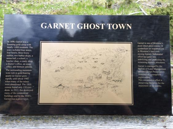 A plaque can be found above the town that explains a bit of Garnet's history.